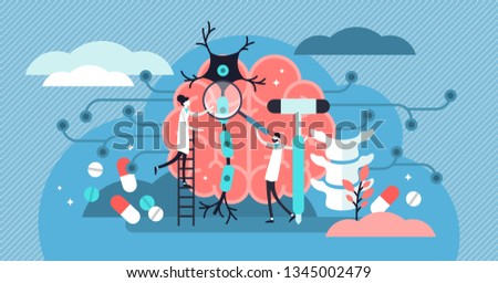Neurology vector illustration. Flat tiny nerve study doctor persons concept. Anatomical knowledge science of brain and senses diseases. Examine internal health and diagnosis controlled pills treatment