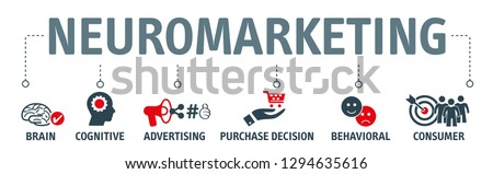 Neuromarketing vector illustration, Commercial marketing conceptual banner with icons and keywords