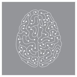 Neuron electric human brain illustration on gray background