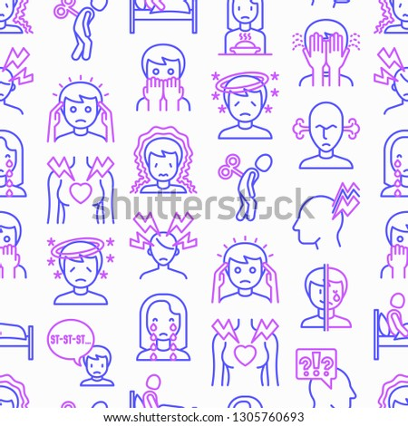 Neurosis seamless pattern with thin line icon: panic attack, headache, fatigue, insomnia, despair, phobia, mood instability, stuttering, psychalgia, dizziness. Modern vector illustration.