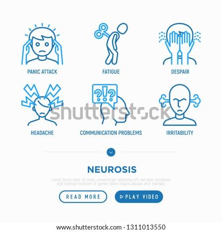 Neurosis thin line icon set: panic attack, headache, fatigue, despair, phobia, irritability. Vector illustration.