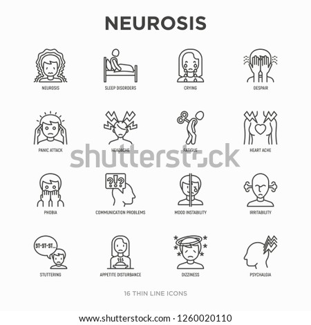 Neurosis thin line icon set: panic attack, headache, fatigue, insomnia, despair, phobia, mood instability, stuttering, psychalgia, dizziness. Modern vector illustration.