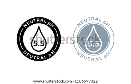 Neutral pH balance logo icon for shampoo or cream. Vector Ph sign label with drop
