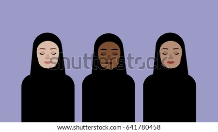neutral women in hijab with