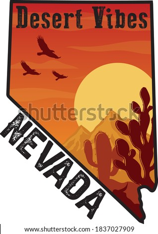 Nevada Desert Vibes Illustraiton with Map Frame - Canyon Print with Cactus Eagle and Sunset Colors - Graphic Tee Pattern Vector Stock fotó ©