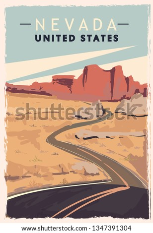 Nevada retro poster. USA Nevada travel illustration. United States of America greeting card. vector illustration.