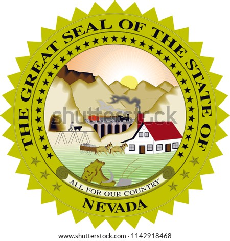 Nevada State Flag Seal Love Heart United States America American Illustration
