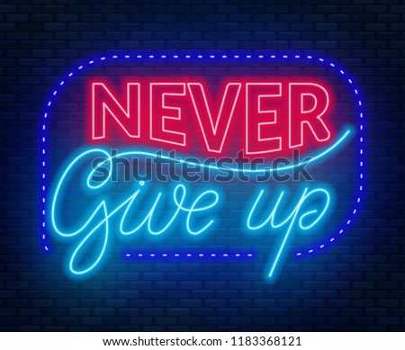 Typographic 'Never Give Up' Illustration - Download Free Vector Art