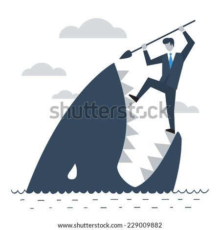 Never give up, person fighting difficulties and problems, crisis control, business trouble vector illustration