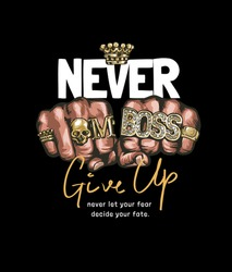never give up slogan with fists in gold rings illustration on black background