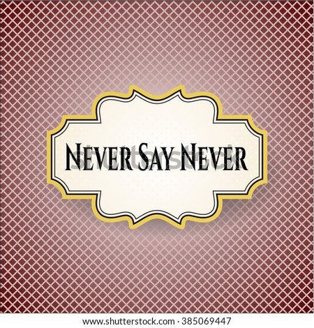 Never Say Never card or poster