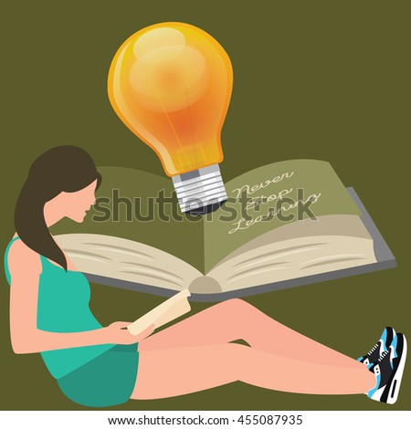 never stop learning  girl reads