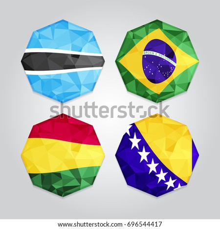 new abstract polygonal flags
