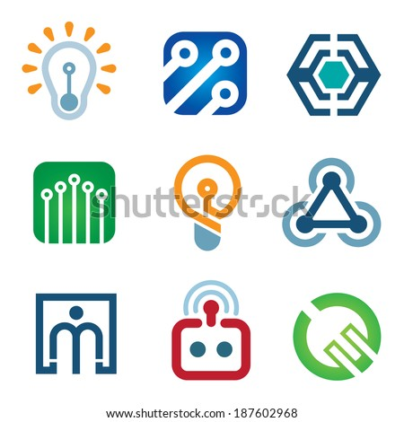 New age of innovative technology modern society logo icon set