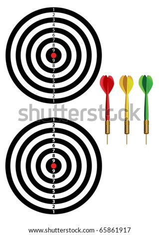 new and old dartboards and 3 colors of dart