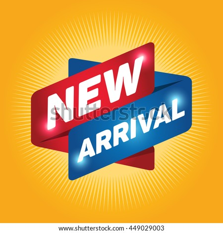 NEW ARRIVAL arrow tag sign icon. Special offer label. Yellow background.