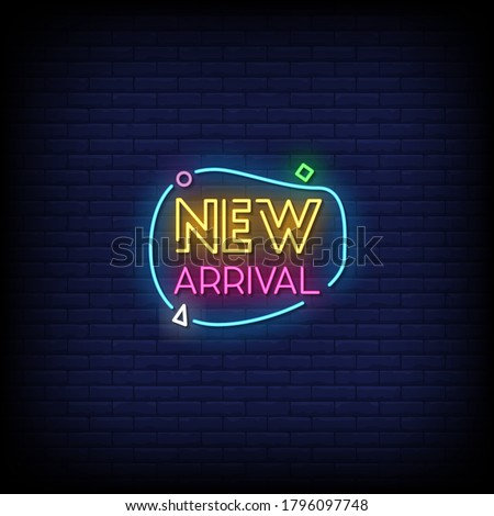 New Arrival Neon Signs Style Text Vector Stok fotoğraf ©