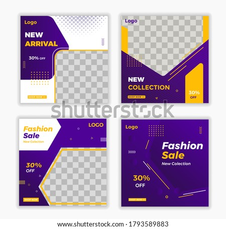 New Arrival, New Collection, Fashion Sale Social Media Banners Template, Promotional Social Media Post Vector, Editable Social Media Post Template