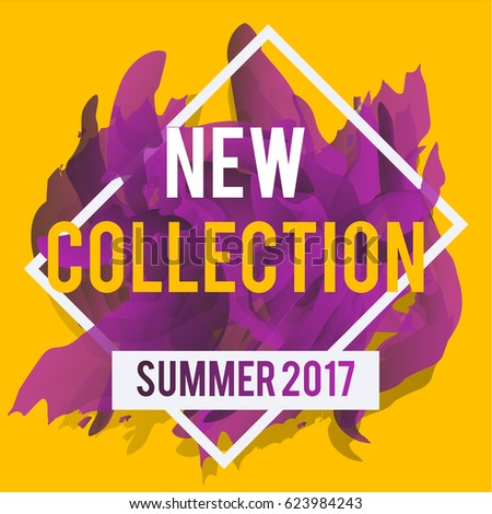 New arrivals and summer collection concept for internet stores promo. New collection web banners. Material design trendy colors.