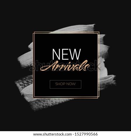 New Arrivals Sale sign over art paint background vector illustration.  Stok fotoğraf ©