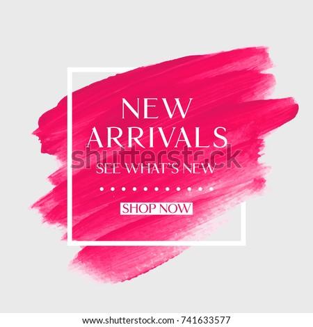 new arrivals sale text over art