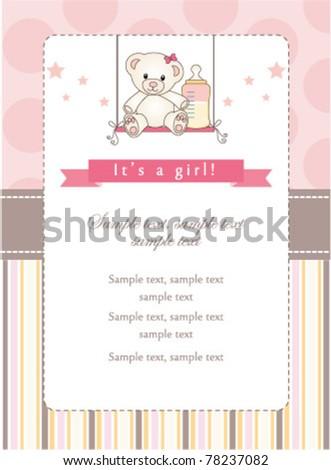 New baby girl shower invitation - stock vector