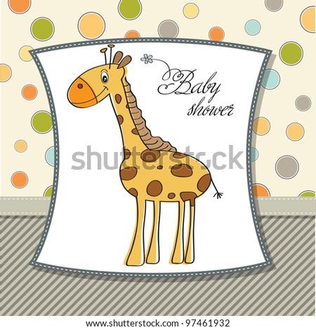 new baby shower card with giraffe