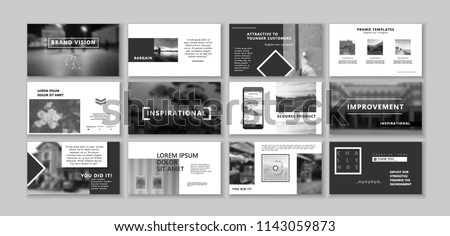 New Black Original Presentation templates or corporate booklet. Use in creative flyer and style info banner, trendy strategy mockups. Simple modern Slideshow or Startup.