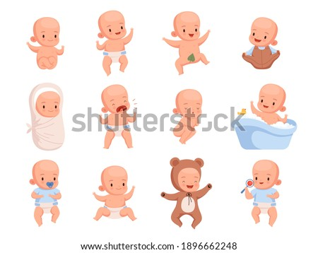 New born babies. Sleeping infant childrens smile cute little characters nowaday vector illustrations Stock foto ©