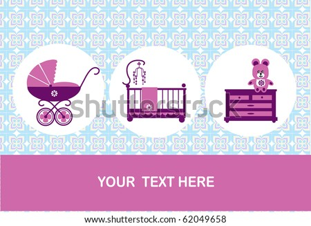 new born, baby birthday card, vector illustration