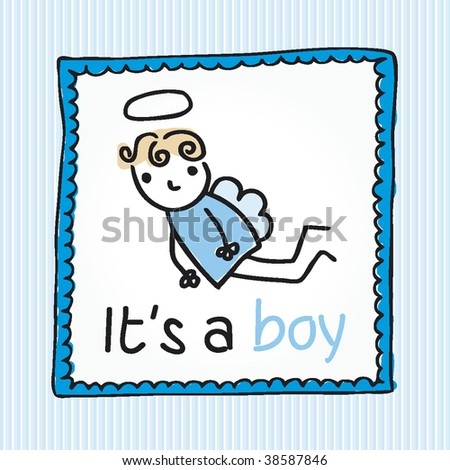 New born baby boy announcement card cover in vector