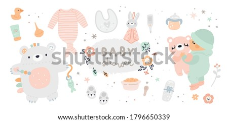 New born essentials collection. Baby must haves. Ultimate baby registry. Top nursery products. Baby shower gift ideas. Childish vector illustration isolated on white background