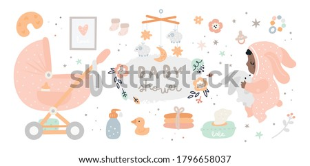 New born essentials collection. Must haves for babies. Ultimate baby registry. Top nursery products. Baby shower best gifts. Childish vector illustration isolated on white background