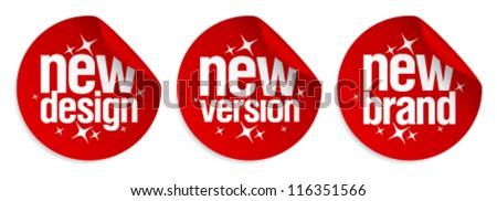 New Brand, Design, Version stickers set.