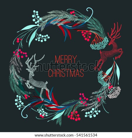 New, bright, stylish pattern of Christmas symbols.  tree, bows, reindeer,  in vector format, and symbolic colors. Merry Christmas seamless pattern