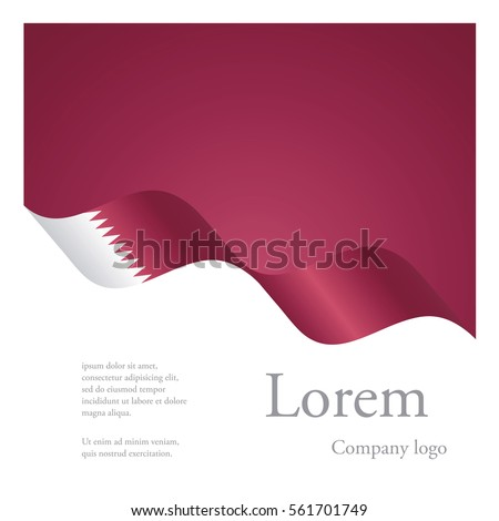 New brochure abstract design modular pattern of wavy flag ribbon of Qatar