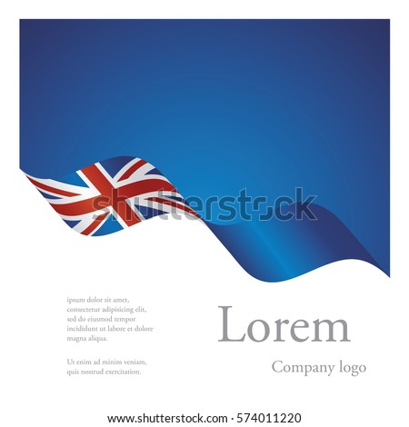 New brochure abstract design modular pattern of wavy flag ribbon of UK
