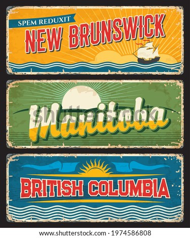 New Brunswick, Manitoba and British Columbia provinces and regions of canada vector plates. Canadian provinces vintage banners of regional flags, setting sun, blue white waves and lymphad or galley Stockfoto ©