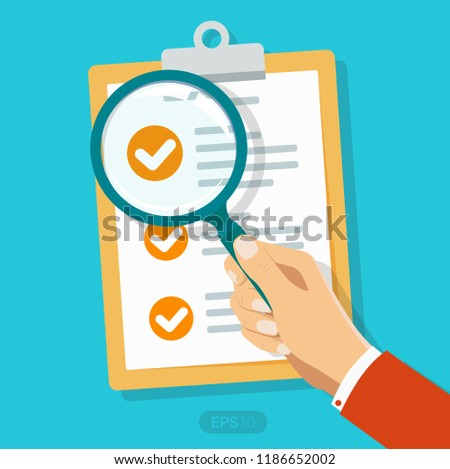 New busienss contract and magnifier Checklist flat icon. Document with green ticks checkmarks. Checklist and pen. Application form, complete tasks, to-do list, survey concepts Vector illustration EPS