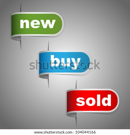 New, buy and sold labels. Vector
