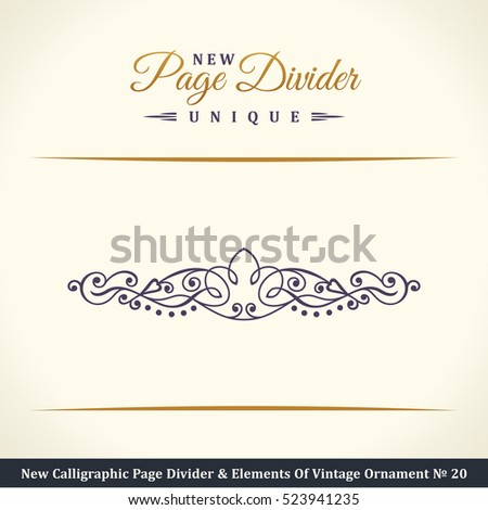 New Calligraphic Page Divider and Element of vintage divider ornament. Elements for retro logo and vector crest, decorative border line