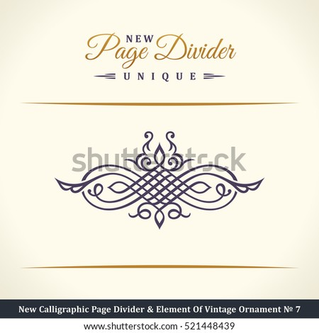 New Calligraphic Page Divider and Element of vintage ornament. Elements for retro logo and vector crest, decorative border line. Gold royal border book