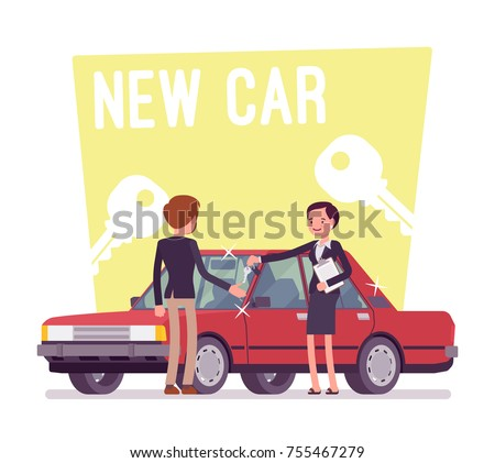New car buying. Young man making an exciting purchase of a new red auto in center of local dealer, saleswoman giving him keys. Vector flat style cartoon illustration isolated on white background