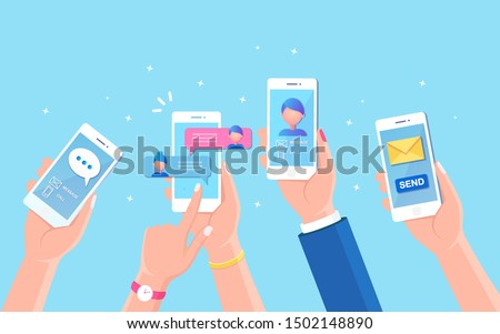 New chat messages notification on mobile phone. Sms bubbles on cellphone screen. People chatting. Vector flat design Foto stock ©
