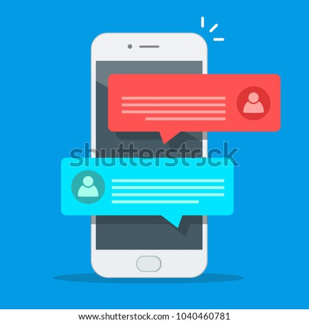 New Chat messages notification on phone flat design messages bubbles on screen, person chatting on mobile. Person's avatars