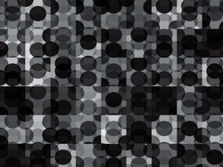 New circles geometric background. Trendy grey white and black spherical pattern. Completely new abstract circles texture. Pop-art mosaic ornament.