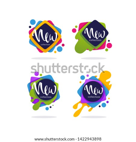 new collection arrivals, vector collection of vibrant bubbles with calligraphy lettering for your marketing promotion
