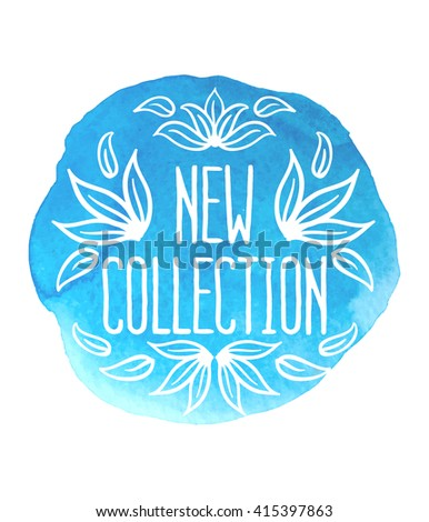 New collection banner on blue watercolor background with floral ornaments, New collection, New collection vector. Poster for shop.