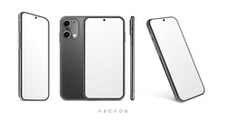 New collection of realistic smartphones at different angles. High Detailed Vector mockups. Mobile phones isolated on white background. Device Mockup Separate Groups and Layers. Easily Editable EPS 10.
