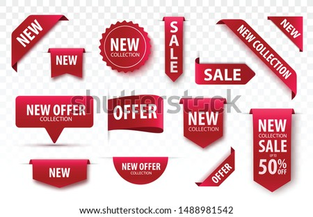 New Collection Sale Tags. 3d Labels And Badges. Red Scroll Ribbons. Vector Banners